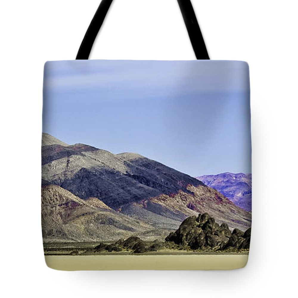 Death Valley Tote Bag featuring the photograph Racetrack Pano Three by Paul Basile