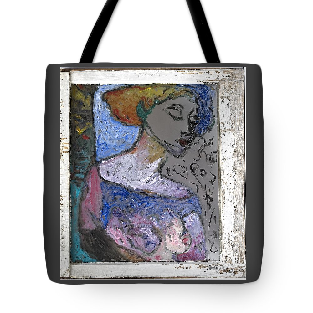 Glass Tote Bag featuring the painting Rachel by Mykul Anjelo