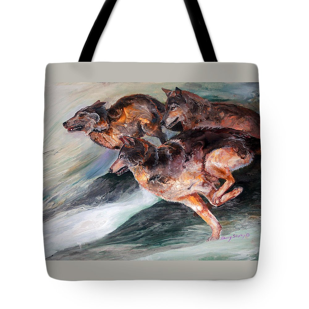 Wolf Tote Bag featuring the painting Racing The Wind by Sherry Shipley