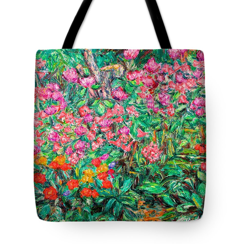 Kendall Kessler Tote Bag featuring the painting Radford Flower Garden by Kendall Kessler