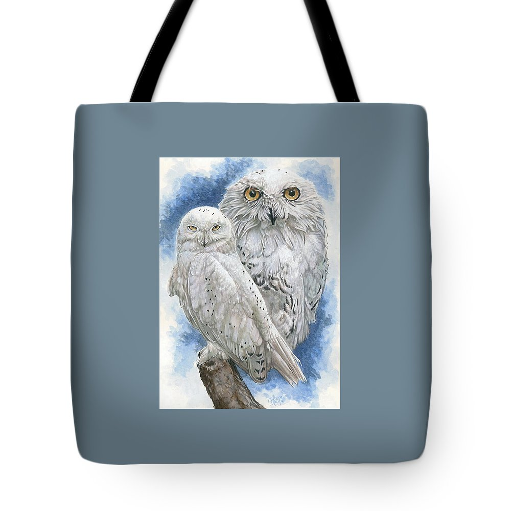 Snowy Owl Tote Bag featuring the mixed media Radiant by Barbara Keith