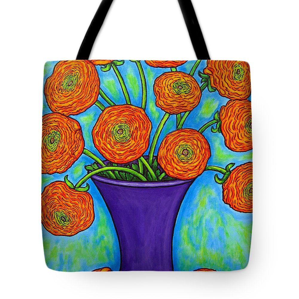 Green Tote Bag featuring the painting Radiant Ranunculus by Lisa Lorenz