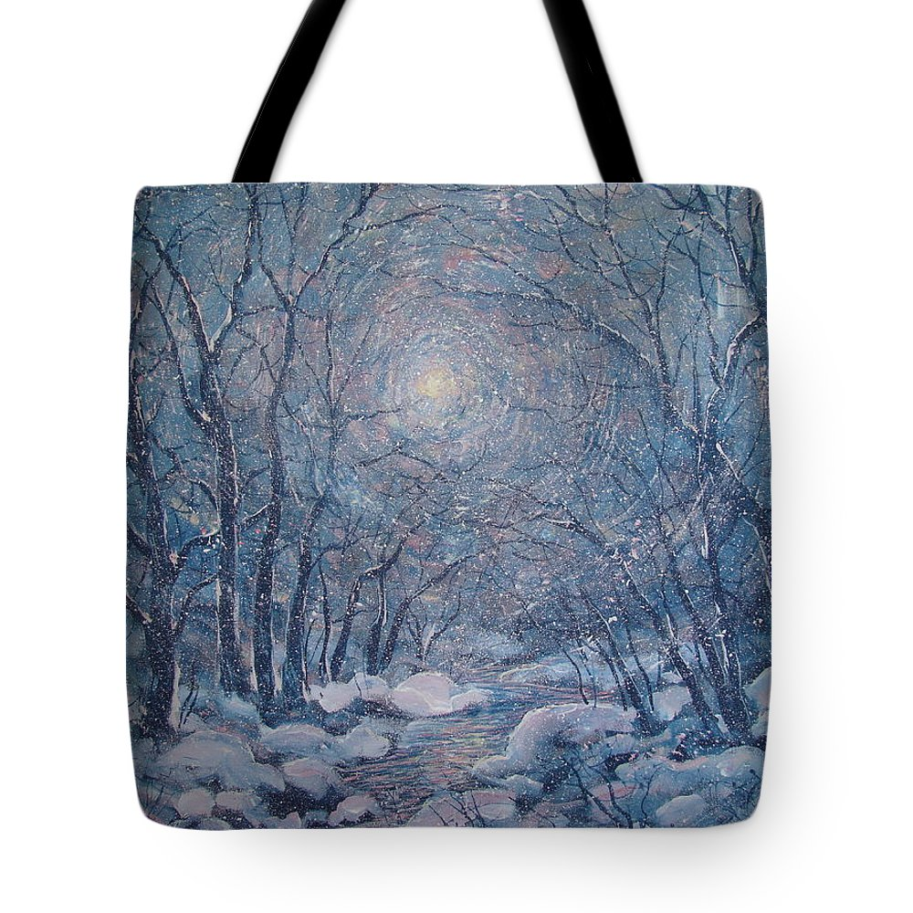 Snow Landscape Tote Bag featuring the painting Radiant Snow Scene by Leonard Holland