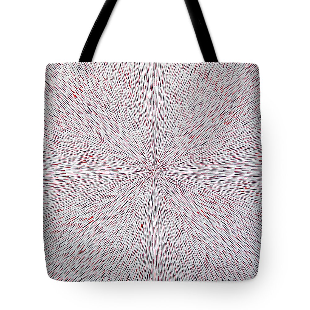 Abstract Tote Bag featuring the painting Radiation With Black And Red by Dean Triolo