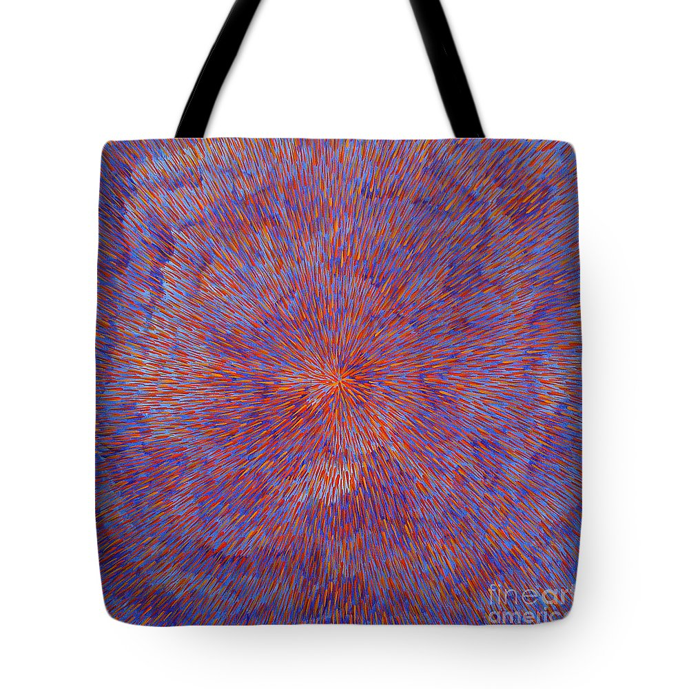 Abstract Tote Bag featuring the painting Radiation With Blue And Red by Dean Triolo