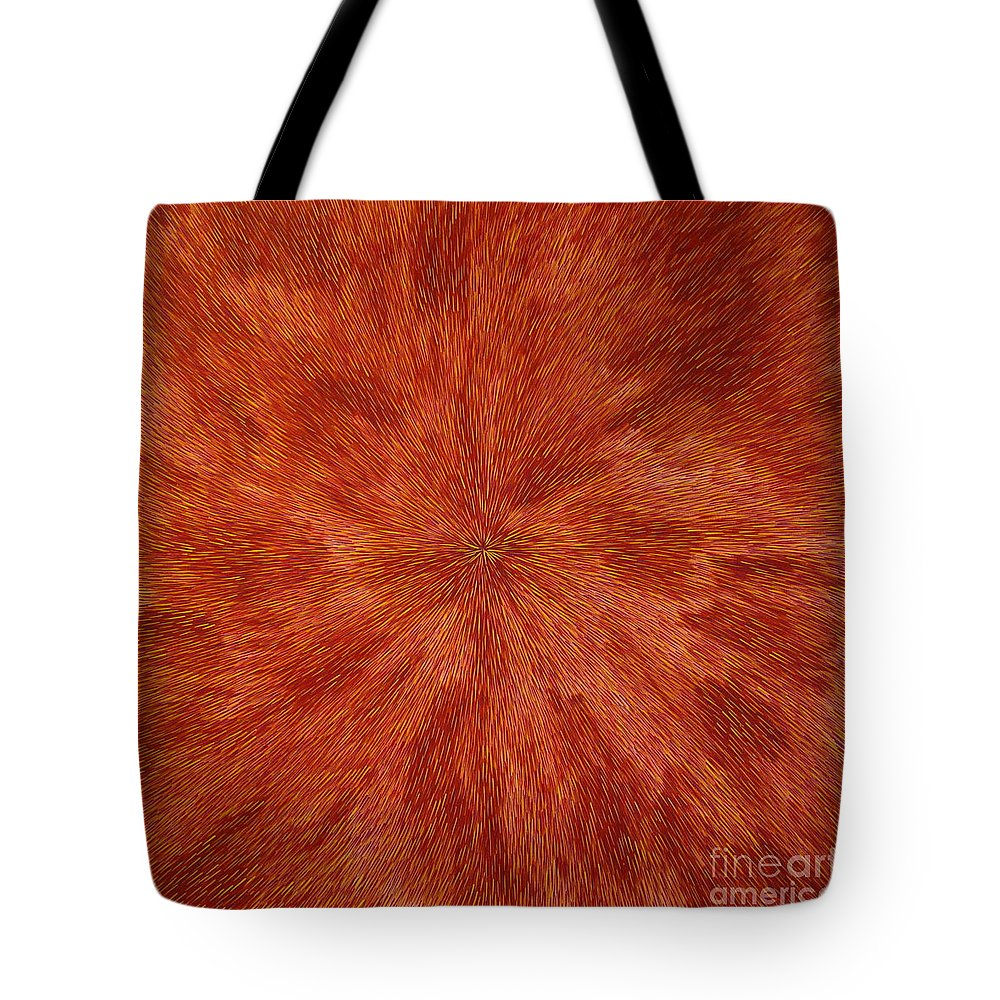 Abstract Tote Bag featuring the painting Radiation With Brown Yellow And Voilet by Dean Triolo