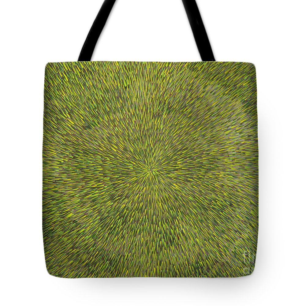 Abstract Tote Bag featuring the painting Radiation With Green With Yellow by Dean Triolo
