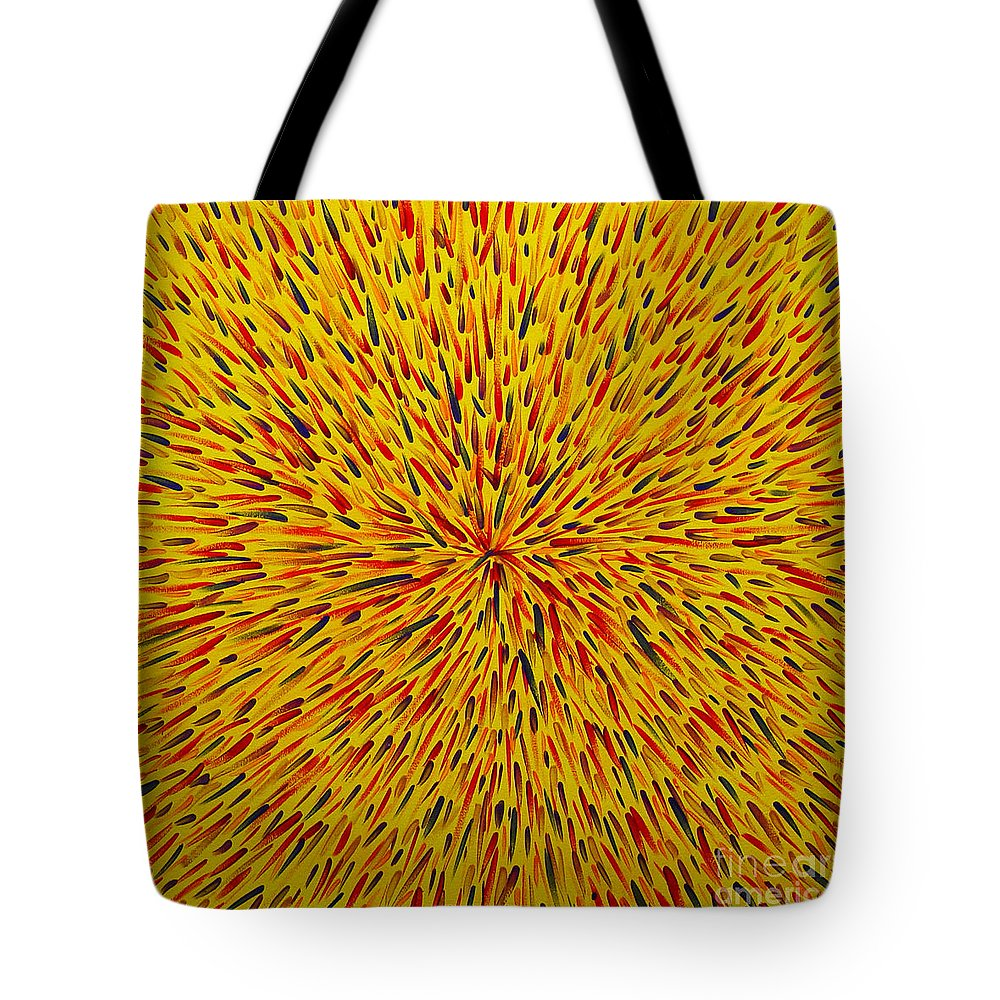Abstract Tote Bag featuring the painting Radiation Yellow by Dean Triolo