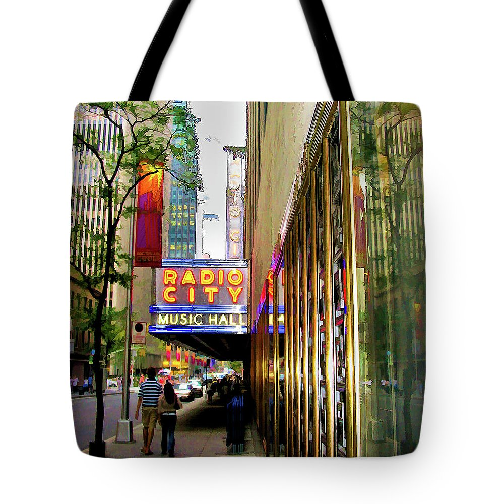 New York City Tote Bag featuring the photograph Radio City Music Hall by Dave Thompsen