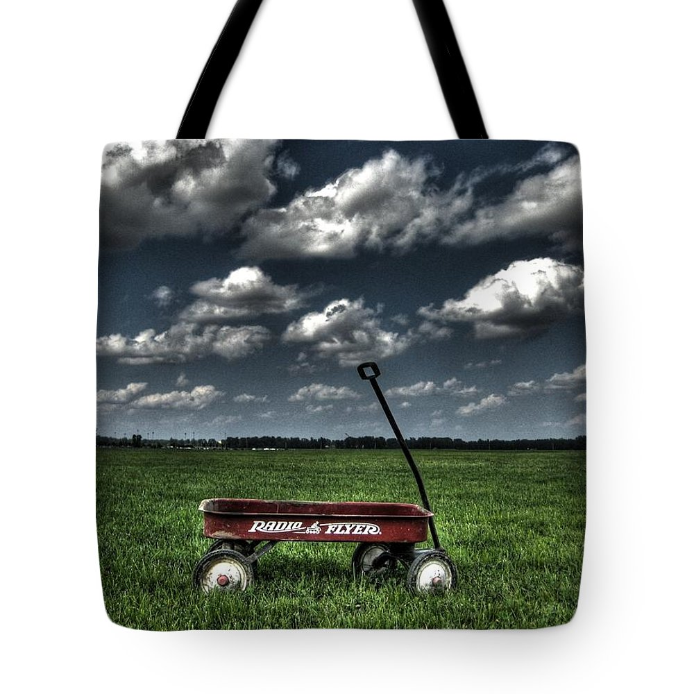 Wagon Tote Bag featuring the photograph Radio Flyer by Jane Linders