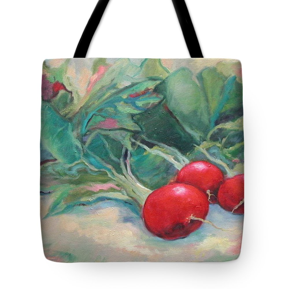 Radishes Tote Bag featuring the painting Radishes by Ginger Concepcion