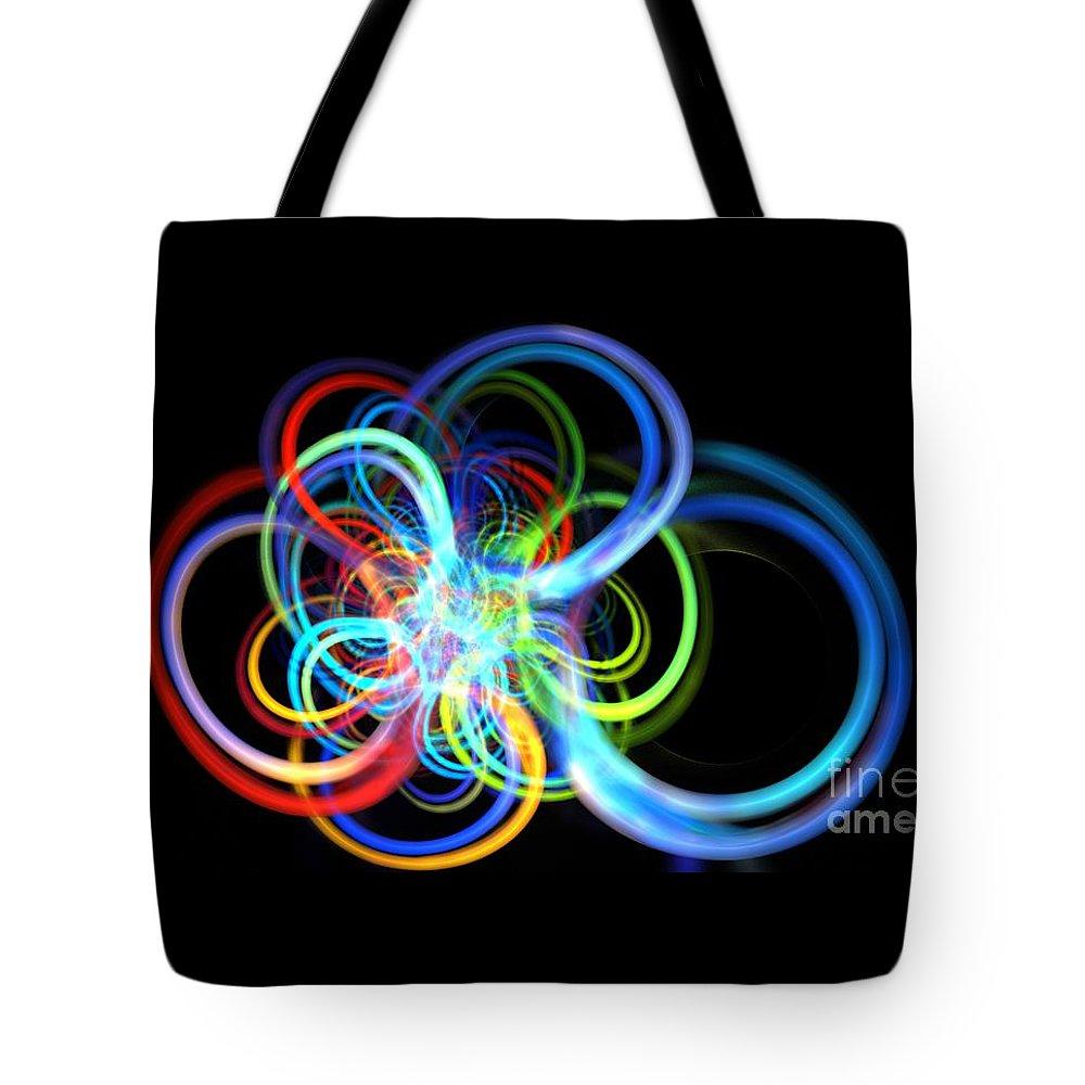 Apophysis Tote Bag featuring the digital art Radius Rainbow by Kim Sy Ok