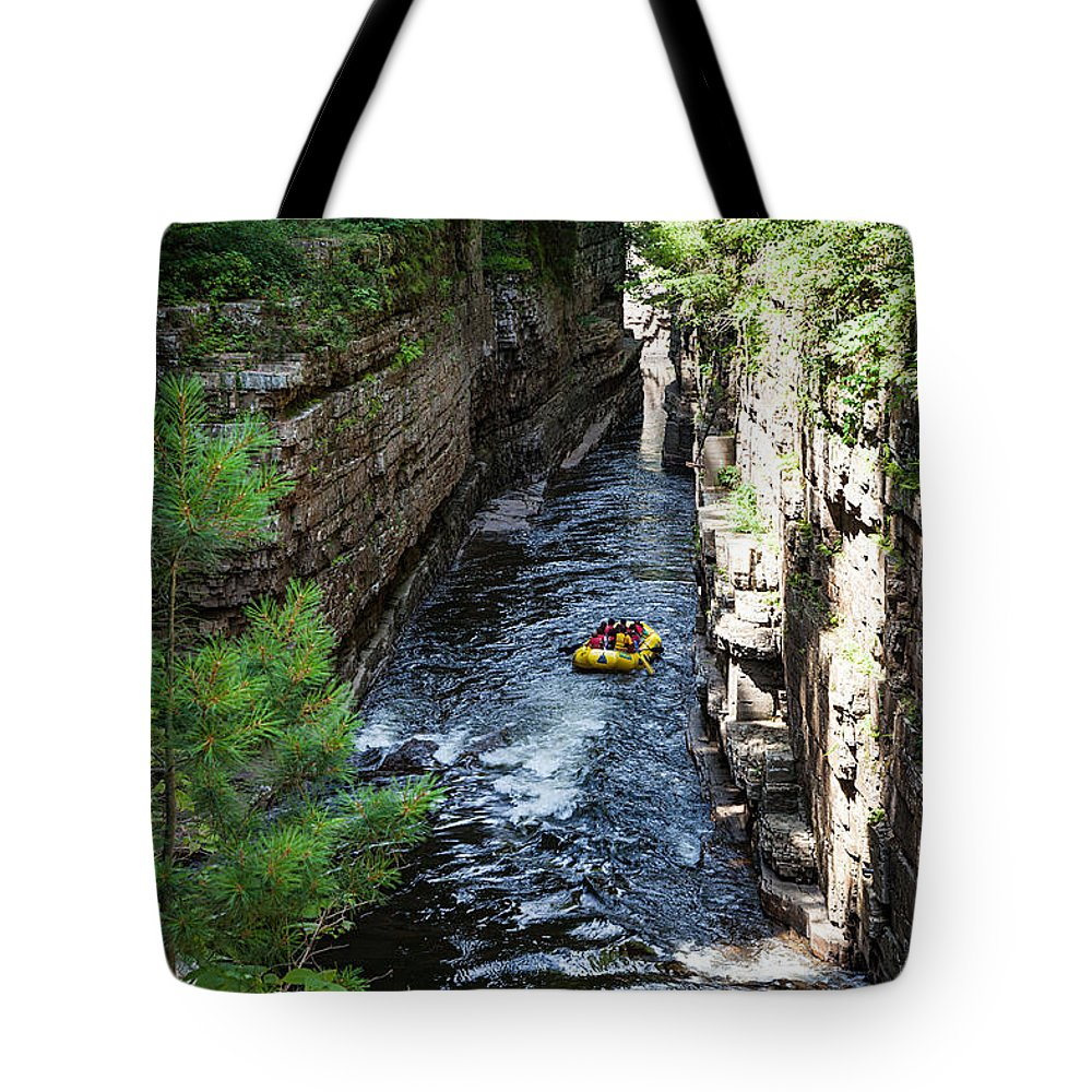 Travel Photography Tote Bag featuring the photograph Rafting In A Gorge by Alex Kotlik