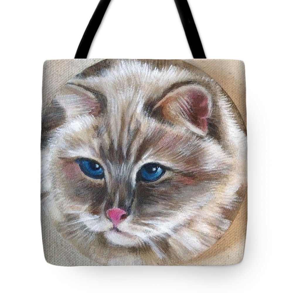 Ragdoll Siamese Tote Bag featuring the painting Rag Doll Siamese by FayBecca