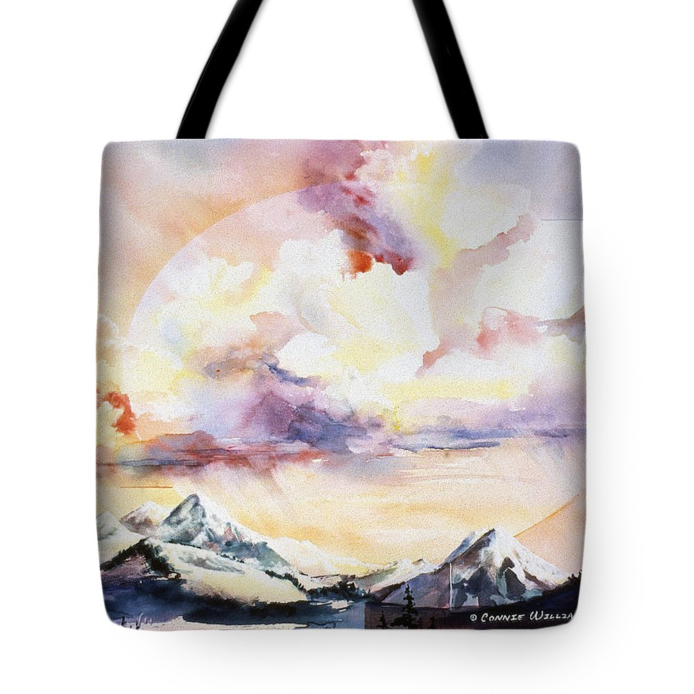 Ragged Mountains Tote Bag featuring the painting Ragged Mountains Sunset by Connie Williams