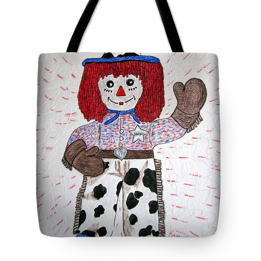 Raggedy Andy Tote Bag featuring the painting Raggedy Andy Cowboy by Kathy Marrs Chandler