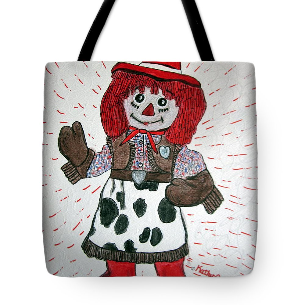 Raggedy Ann Tote Bag featuring the painting Raggedy Ann Cowgirl by Kathy Marrs Chandler