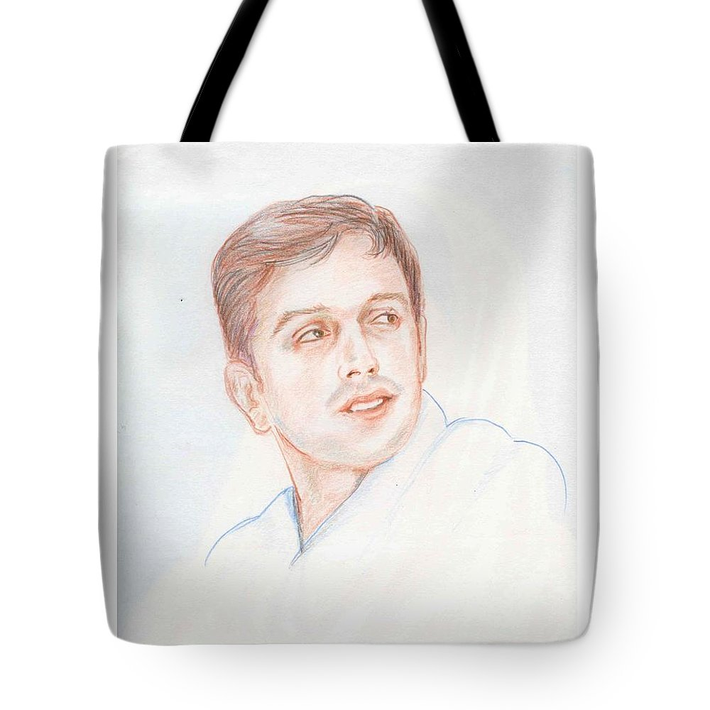 Cricketer Tote Bag featuring the drawing Rahul Dravid Indian Cricketer by Asha Sudhaker Shenoy