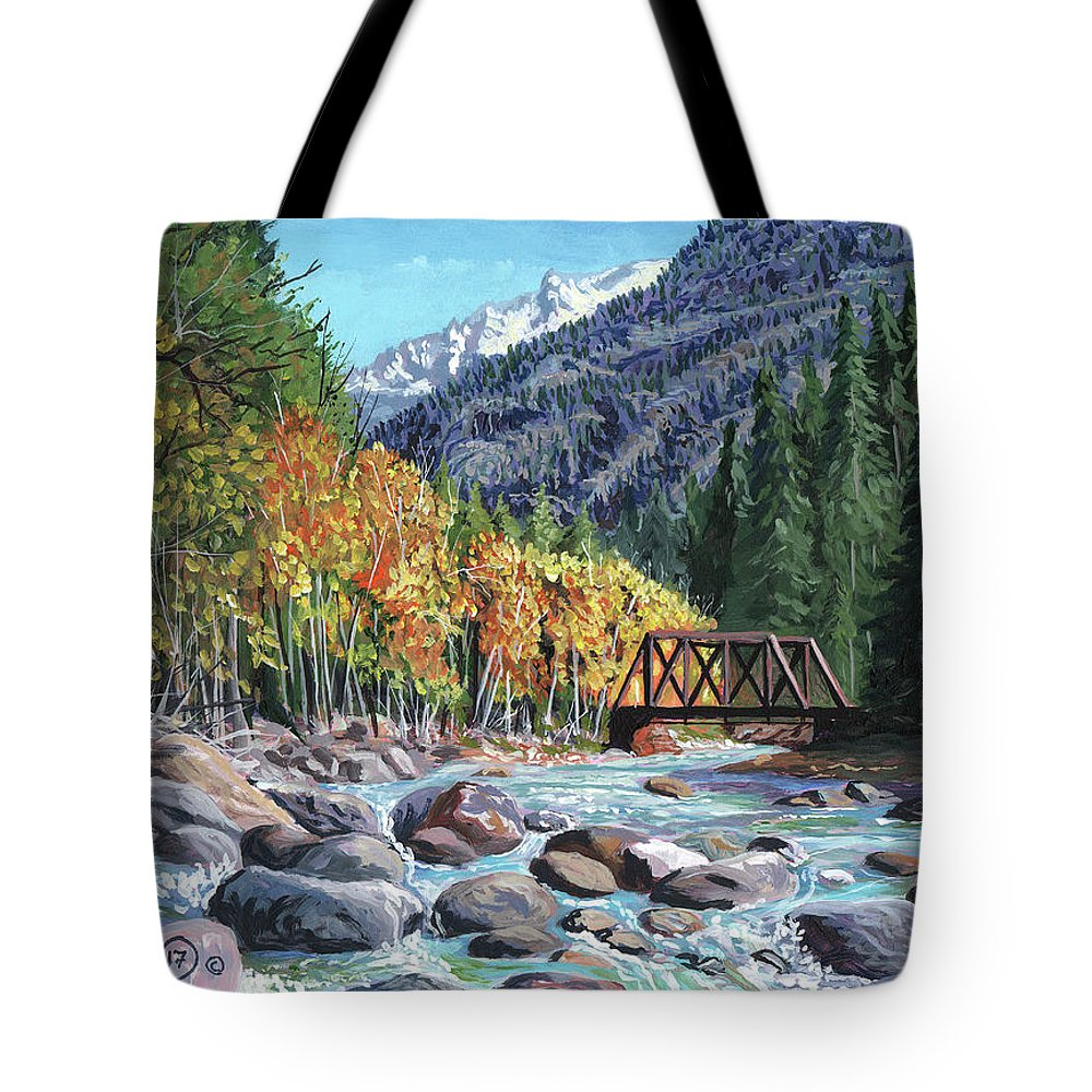 Timithy Tote Bag featuring the painting Rail Bridge At Cascade by Timithy L Gordon