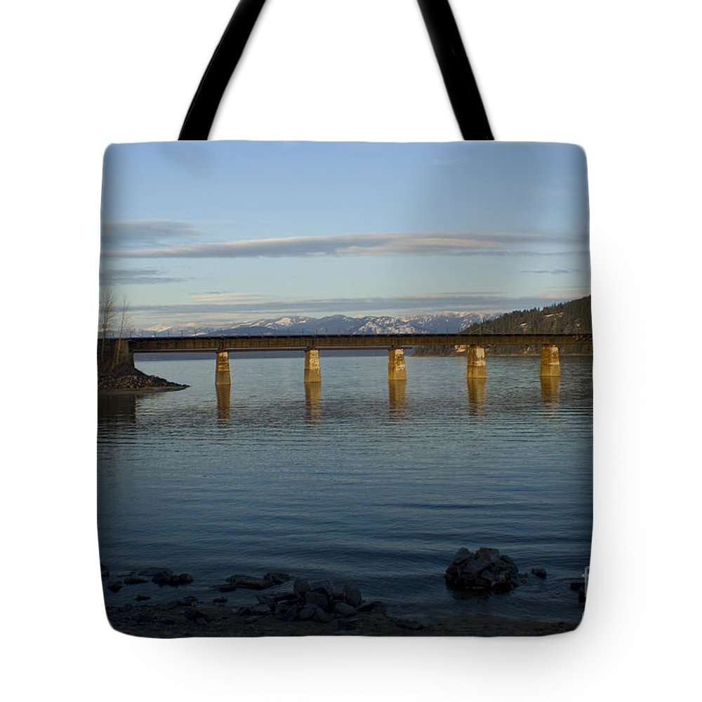 Bridge Tote Bag featuring the photograph Railroad Bridge Over The Pend Oreille by Idaho Scenic Images Linda Lantzy