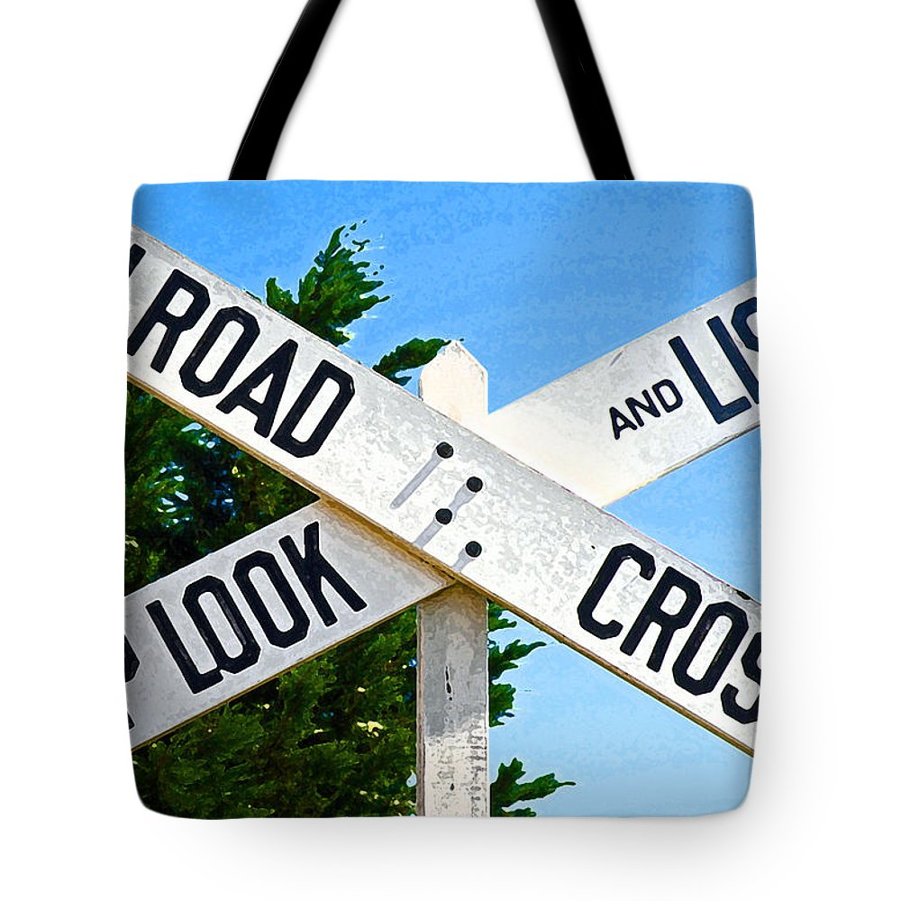 Railroad Crossing Tote Bag featuring the photograph Railroad Crossing by Jean Hall