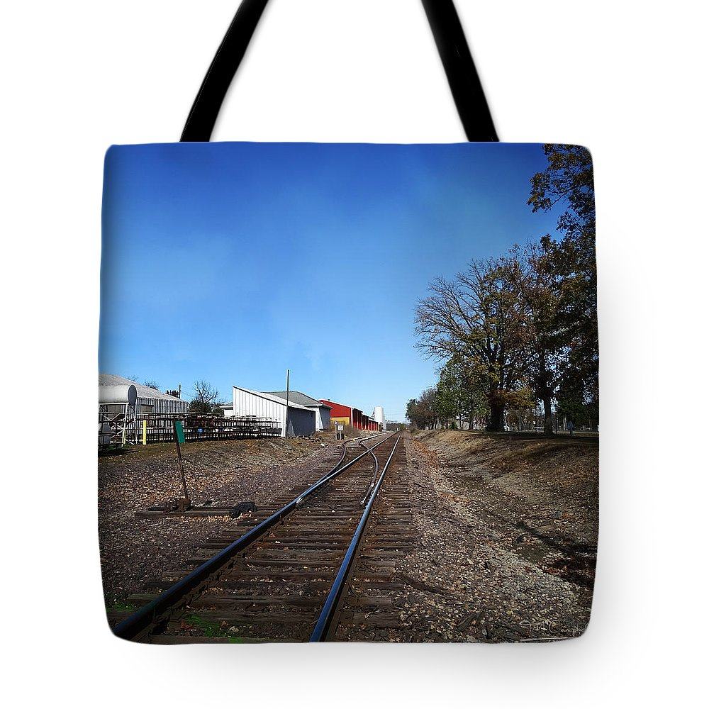Illinois Tote Bag featuring the photograph Railroad Tracks Switch Station by Theresa Campbell