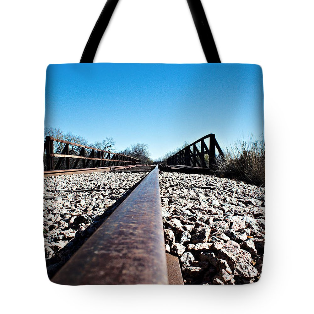 Railroad Tote Bag featuring the photograph Railroad Trestle by James Smullins