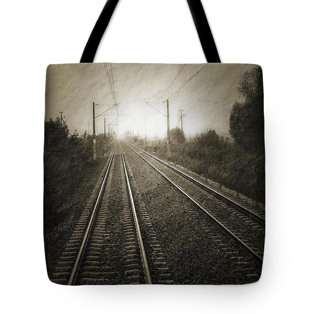 Train Tote Bag featuring the photograph Rails by Angela Wright