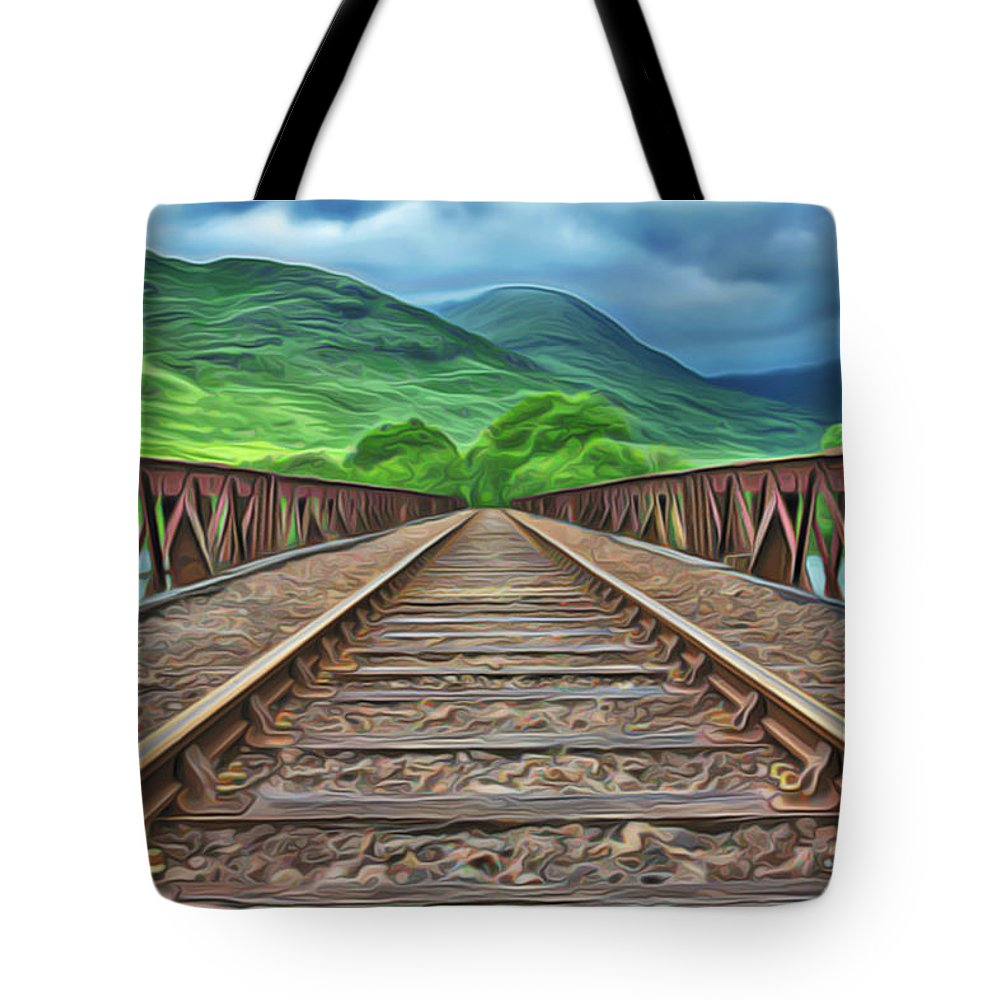 Railway Tote Bag featuring the painting Railway by Harry Warrick