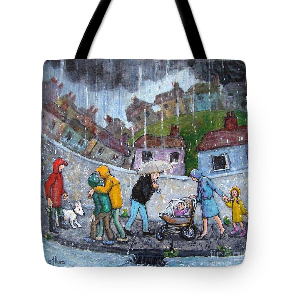 Rain Tote Bag featuring the painting Rain by Barbara de Mora