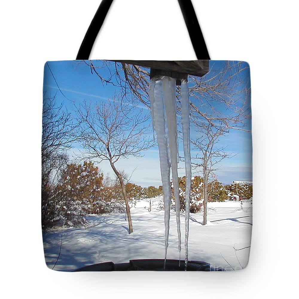 Icicle Tote Bag featuring the photograph Rain Barrel Icicle by Diana Dearen