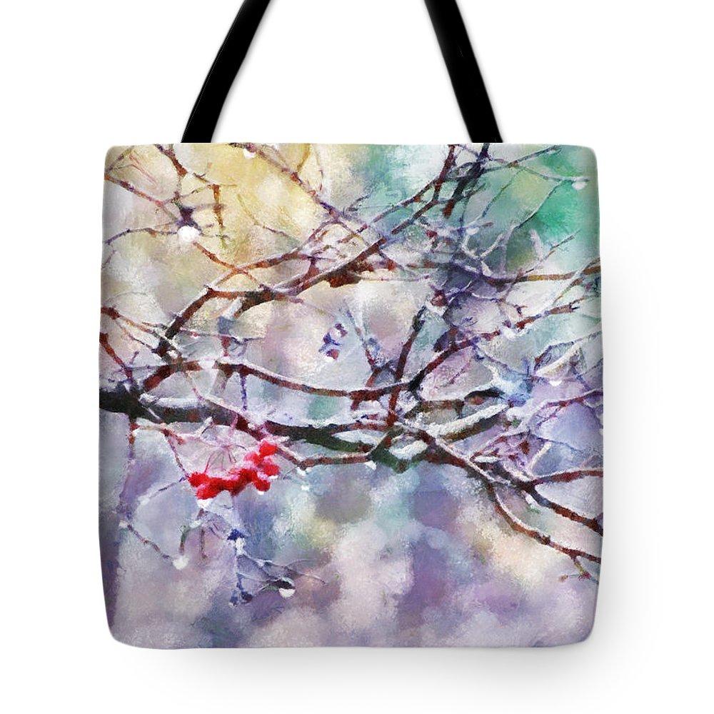 Rain Tote Bag featuring the digital art Rain Berries by Francesa Miller