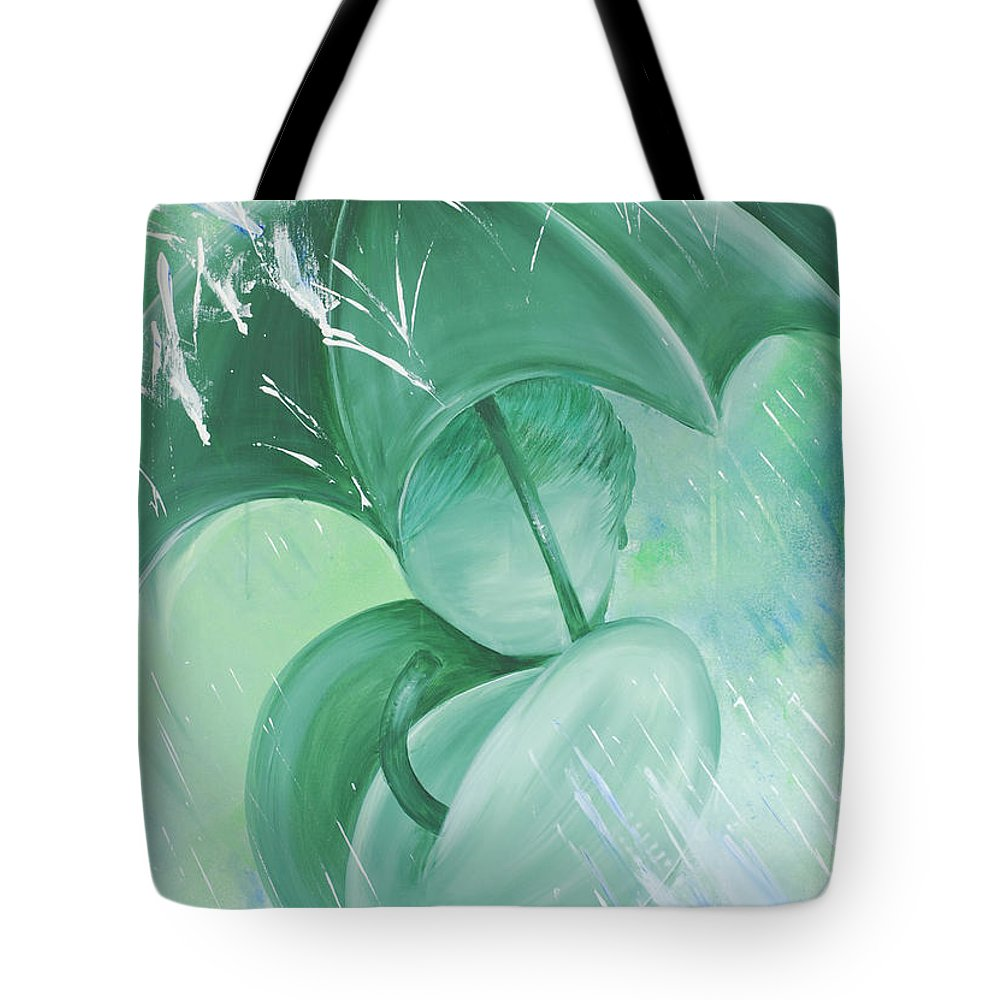 Rain Tote Bag featuring the painting Rain by Catt Kyriacou