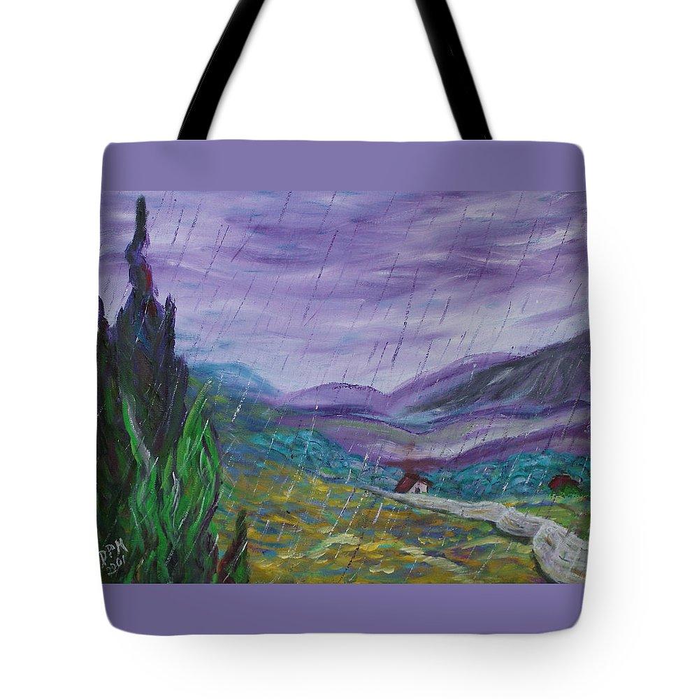 Rain Tote Bag featuring the painting Rain by David McGhee