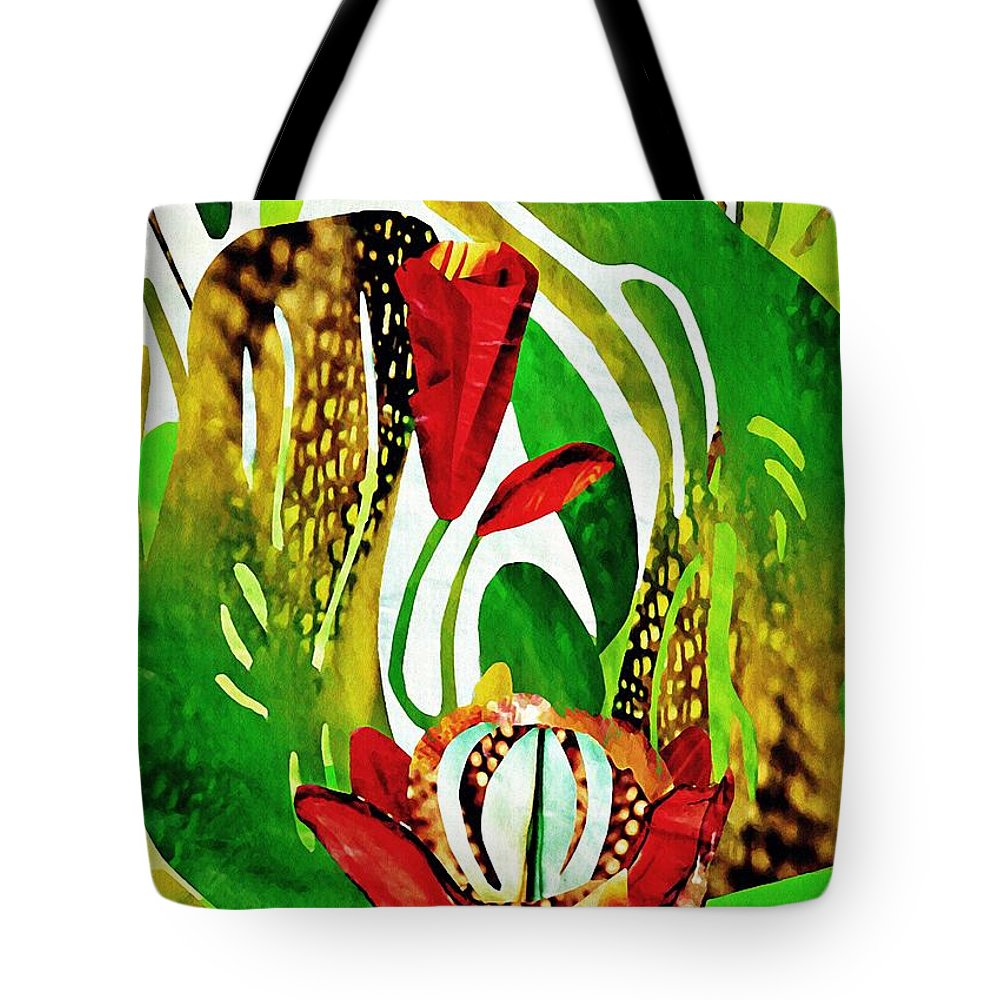 Floral Tote Bag featuring the mixed media Rain Flowers by Sarah Loft