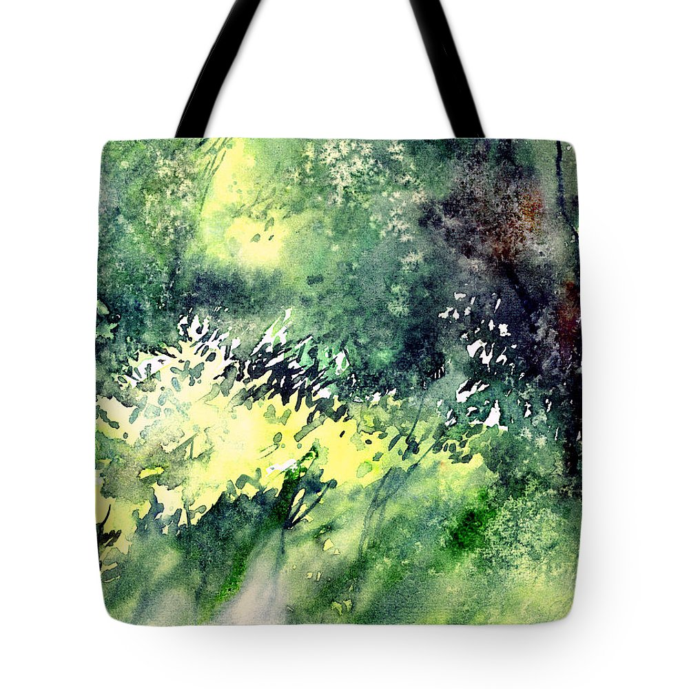 Landscape Watercolor Nature Greenery Rain Tote Bag featuring the painting Rain Gloss by Anil Nene