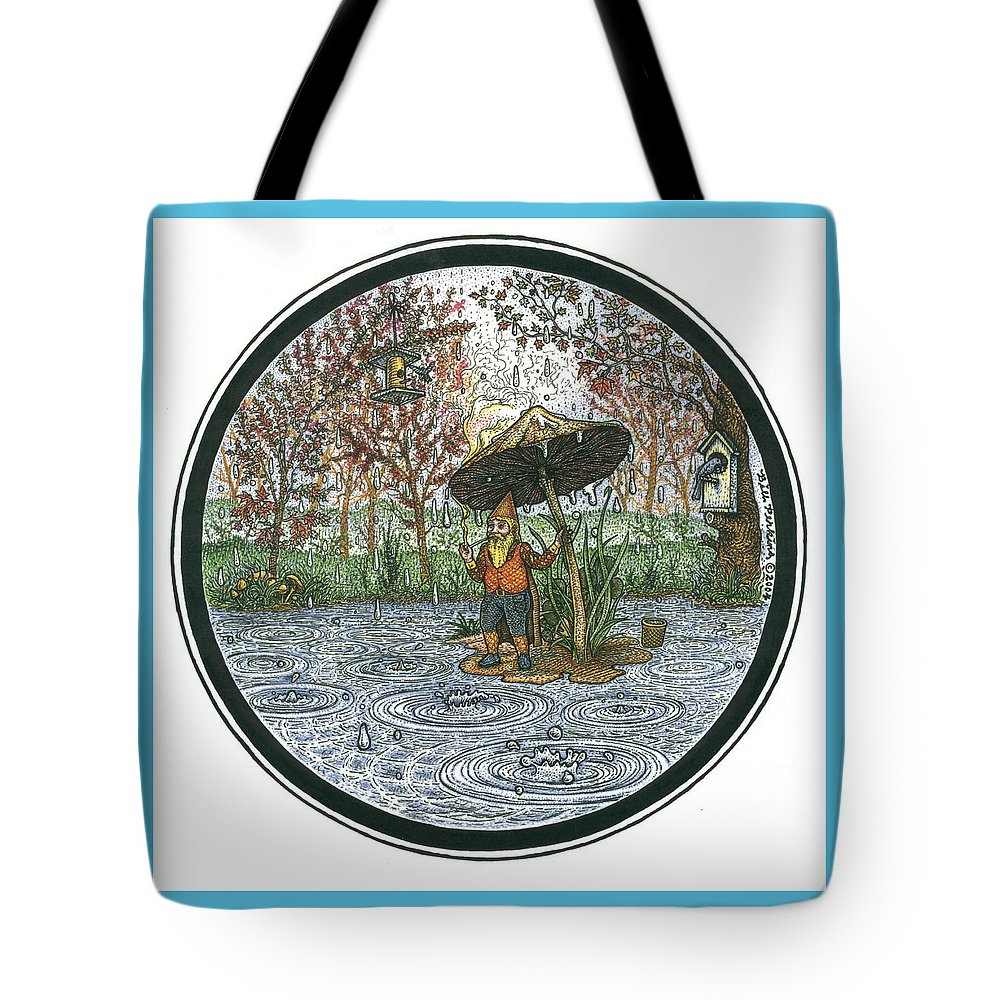 Rain Tote Bag featuring the drawing Rain Gnome Rain Circle by Bill Perkins