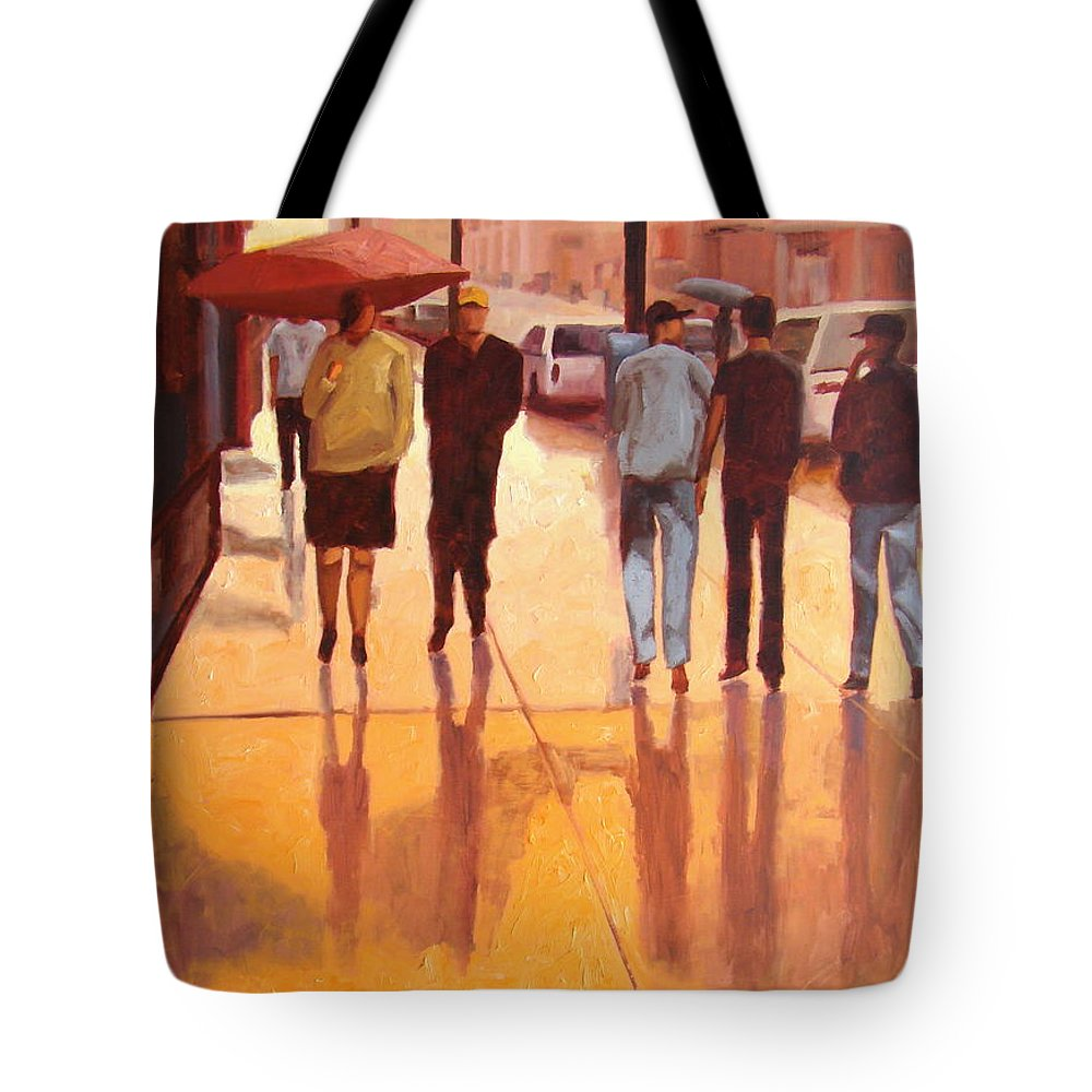 Manhattan Tote Bag featuring the painting Rain In Manhattan Number Eighteen by Tate Hamilton