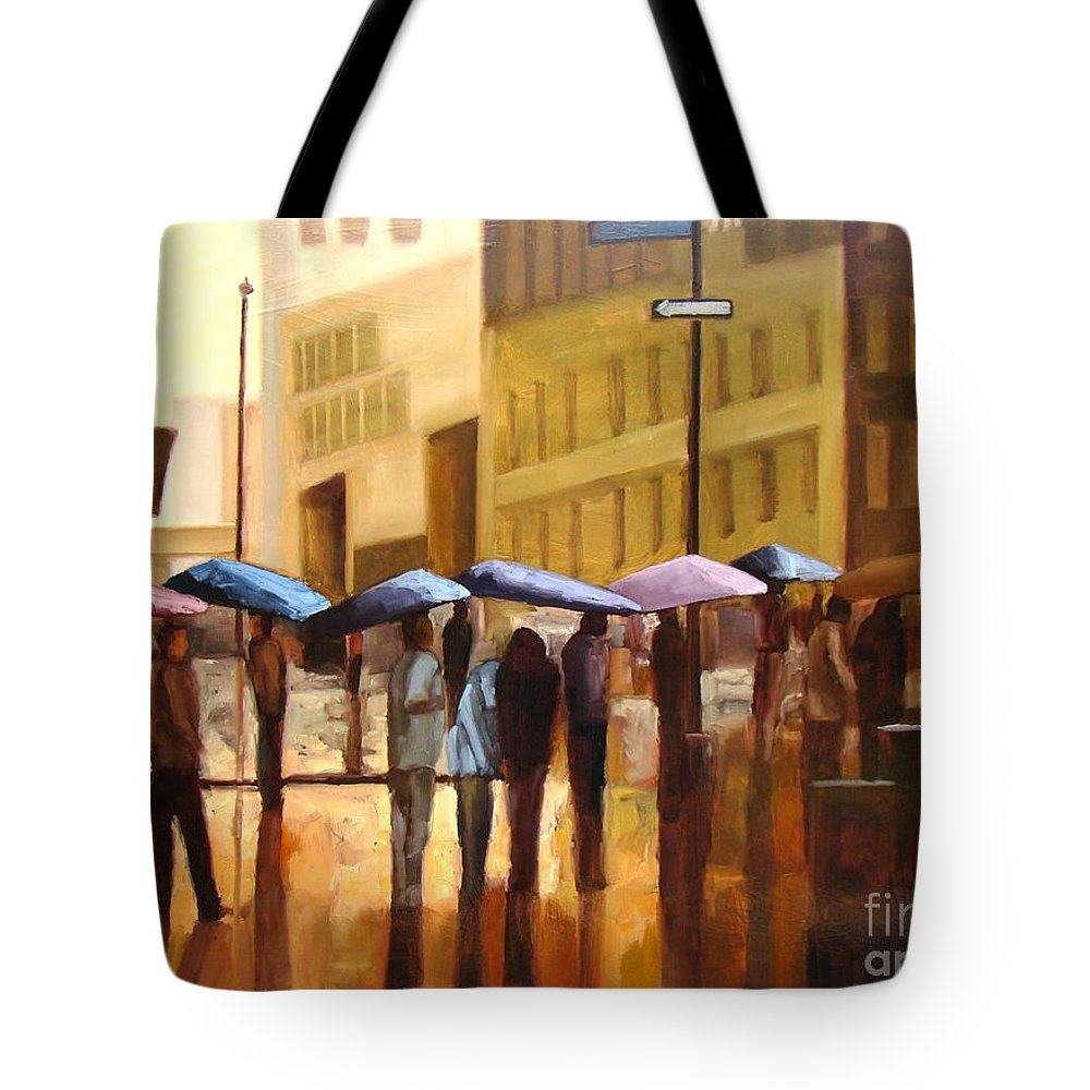 Cityscape Tote Bag featuring the painting Rain in Manhattan number seventeen by Tate Hamilton