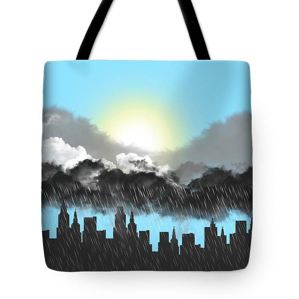 Rain On A Sunny Day Tote Bag featuring the digital art Rain On A Sunny Day by Tari Valadez