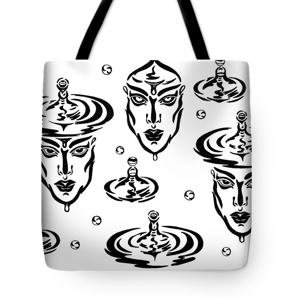 B&w Tote Bag featuring the drawing Rain by Yelena Tylkina