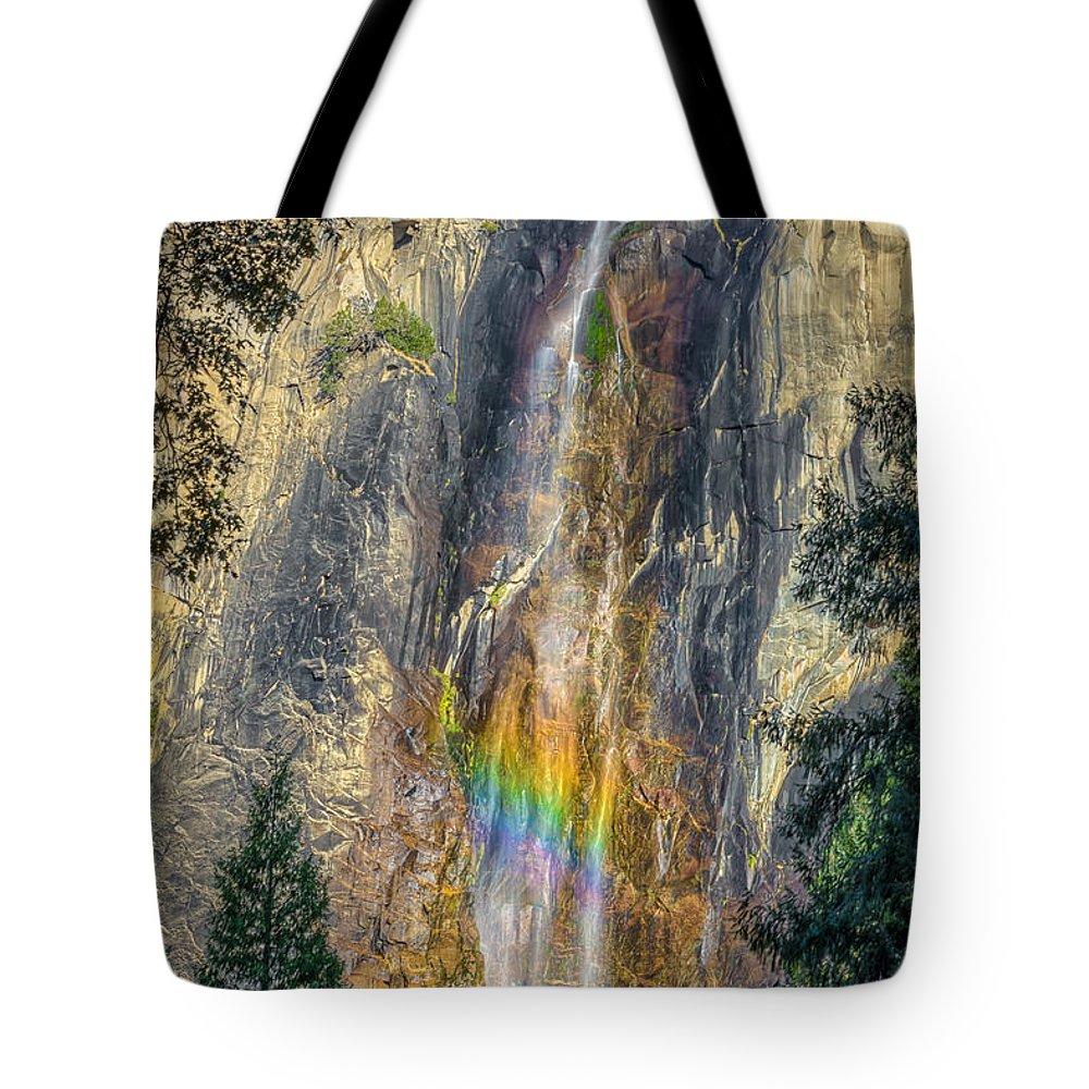 Bridal Veil Falls Tote Bag featuring the photograph Rainbow At Bridal Veil by Rikk Flohr