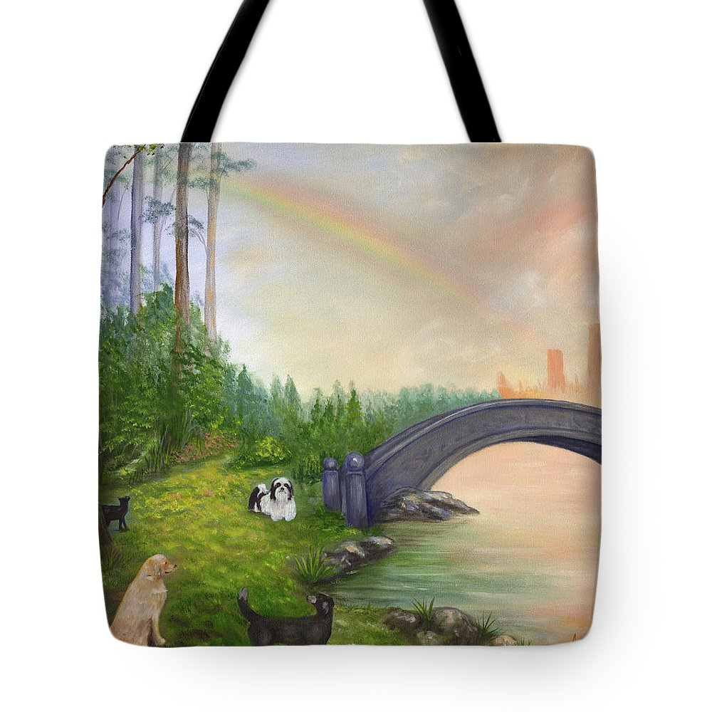Pet Remembrance Tote Bag featuring the painting Rainbow Bridge by Anne Kushnick