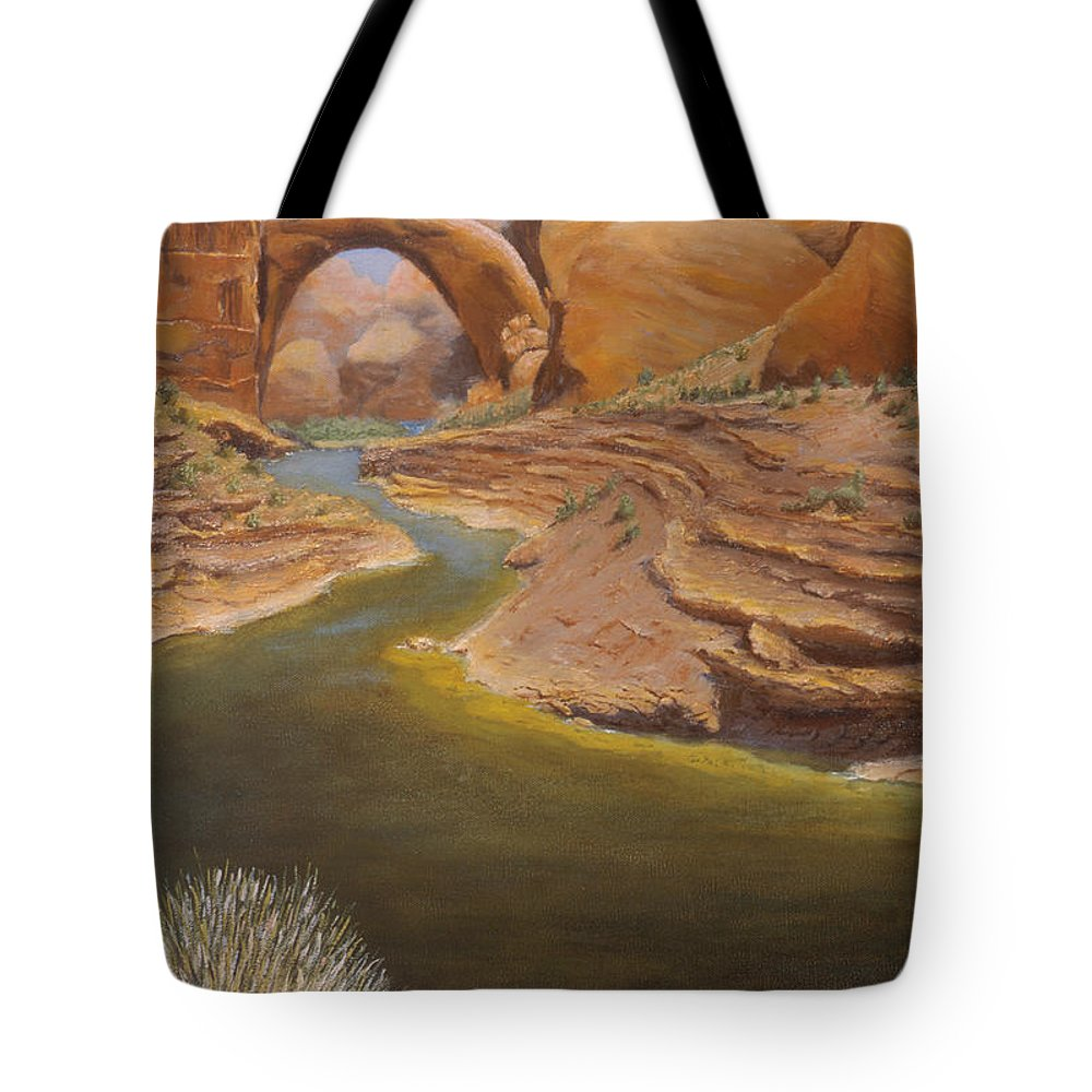 Rainbow Bridge Tote Bag featuring the painting Rainbow Bridge by Jerry McElroy