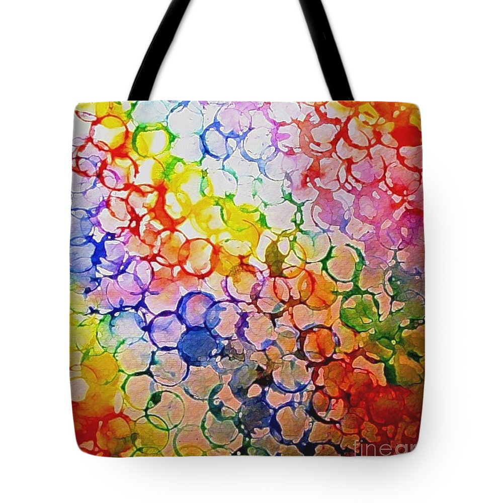 Rainbow Bubbles Tote Bag featuring the painting Rainbow Bubbles by Hazel Holland