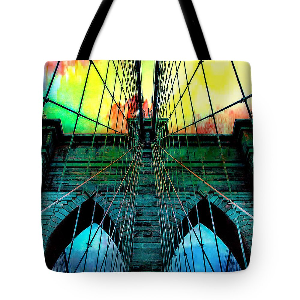 Brooklyn Bridge Tote Bag featuring the photograph Rainbow Ceiling by Az Jackson
