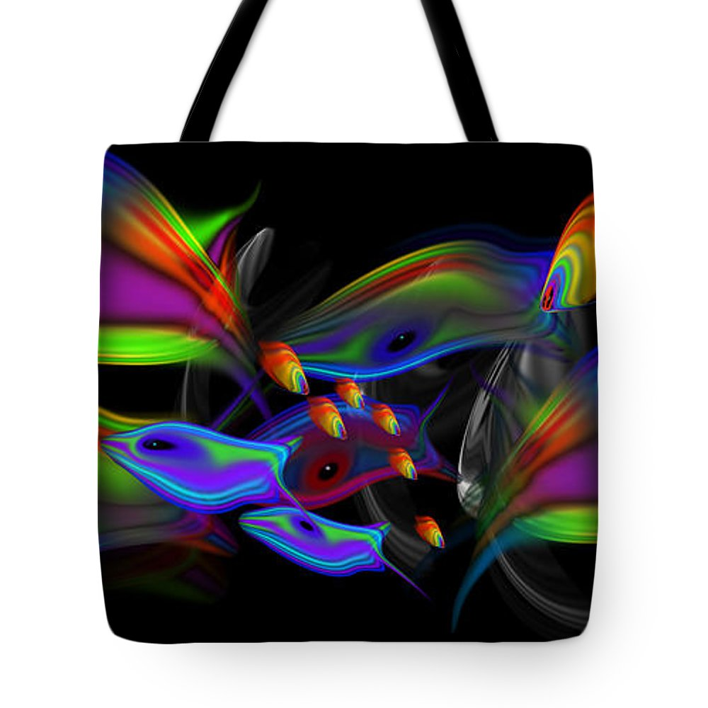 Tropical Fish Tote Bag featuring the painting Rainbow Deep by Charles Stuart