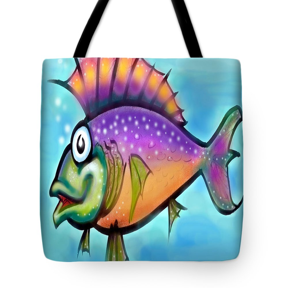 Fish Tote Bag featuring the greeting card Rainbow Fish by Kevin Middleton