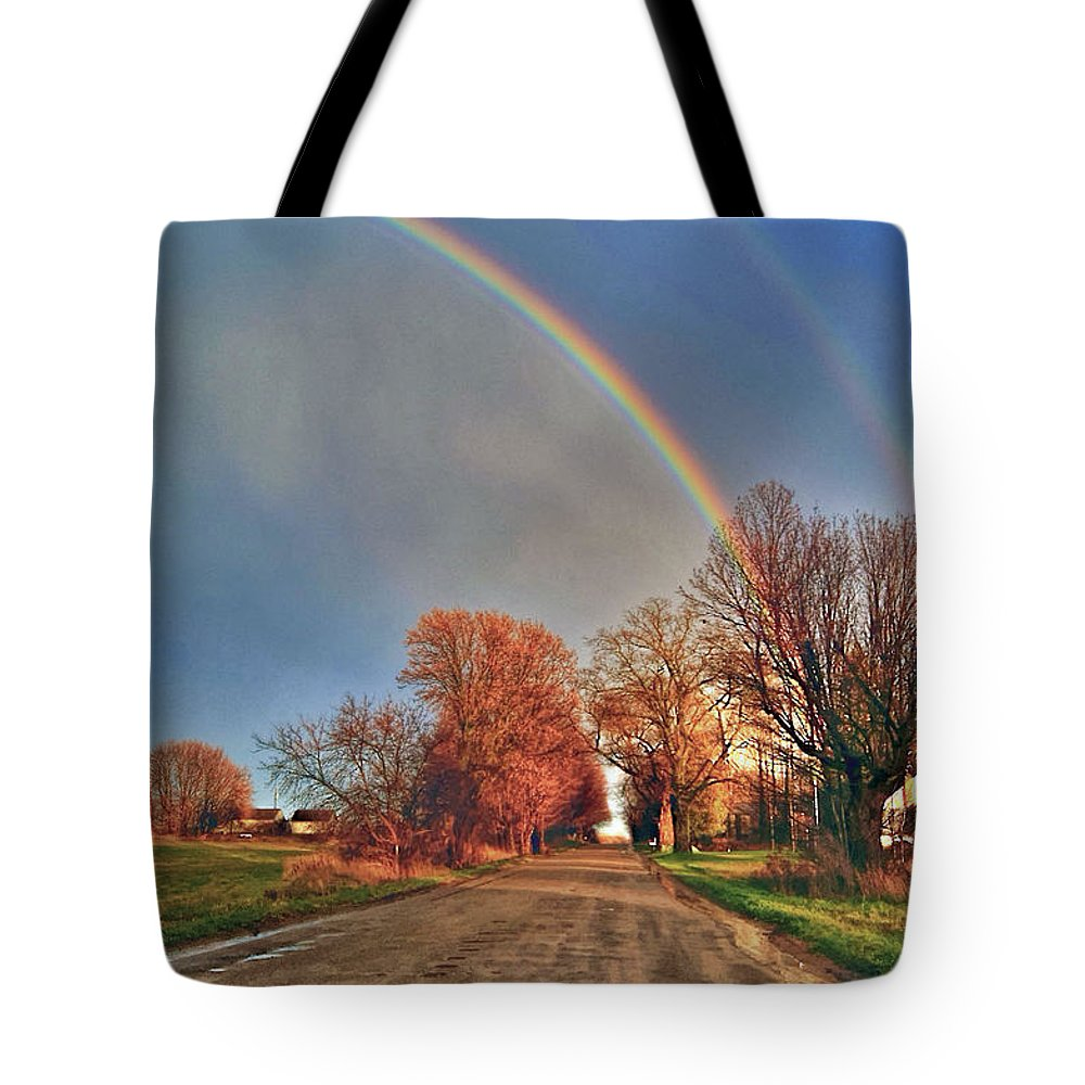 Hdr Rainbow Storm Country Roads Tote Bag featuring the photograph Rainbow Hdr by Mark Andrews