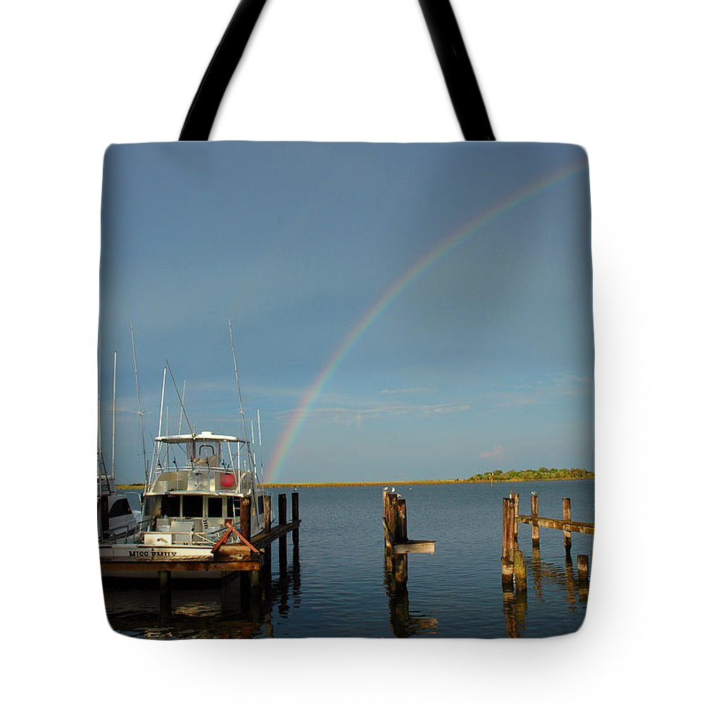 Rainbow Tote Bag featuring the photograph Rainbow In Apalachicola Fl by Susanne Van Hulst